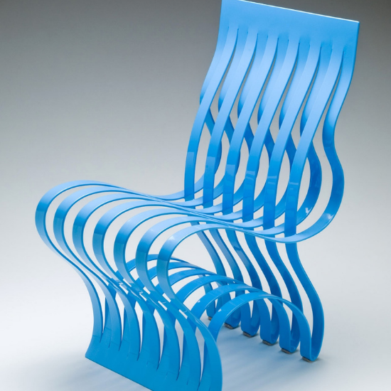 bright blue chair designed by Vivian Beer