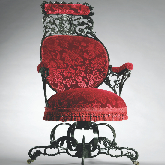 red chair designed by Thomas E. Warren