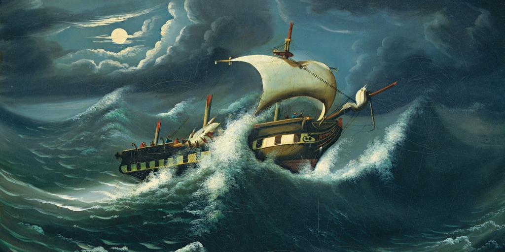Boat tossed in a storm, oil painting by Thomas Chambers