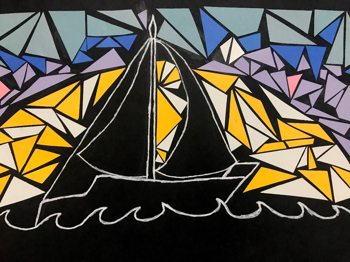 collage image black ship with yellow sun behind