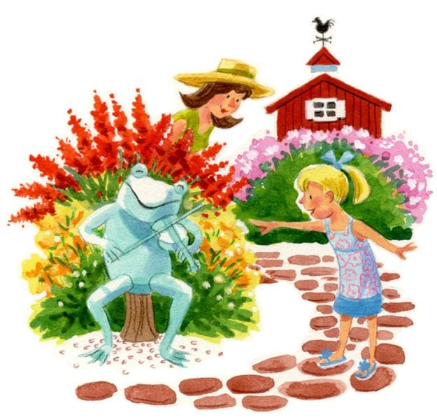 illustration young girl in garden